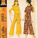 Vintage 1960's McCalls Sewing Pattern 8883 Raglan Sleeve Pantdress with Belt Size 14 UNCUT