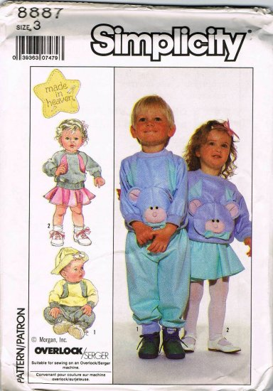 80's Simplicity Sewing Pattern 8887 Boys Girls Pull on Skirt Pants Top Toddler Size 3 UNCUT