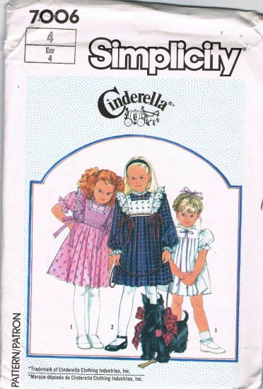 80's Simplicity Cinderella Sewing Pattern 7006 Girls Dress with Detatchable Tabard Size 4 UNCUT