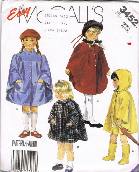 80's McCalls Easy Sewing Pattern 3452 Rain Cape Poncho Childrens Girls Boys Size Small 5 - 6 UNCUT
