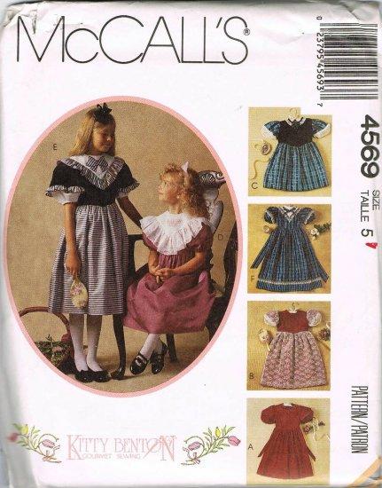 McCalls Kitty Benton Sewing Pattern 4569 Girls Fancy Short Long Dress Size 5 UNCUT
