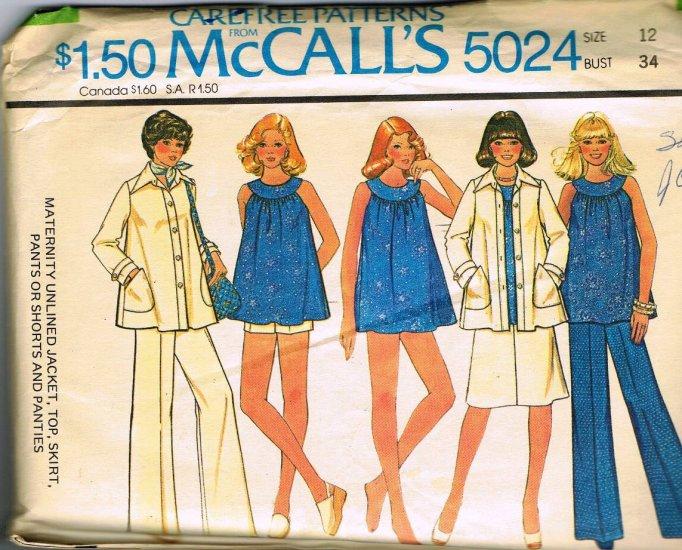 McCalls Maternity Sewing Pattern 5024 Maternity Top Jacket Shorts Skirt Pants Panties Size 12 CUT