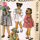 McCalls 80's Sewing Pattern 7409 Toddler Girls Spring Summer Coat Hat Dress Size 1 CUT