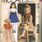 80's McCalls Helen Lee Sewing Pattern 8722 Girls Long Short Dress 3 Styles Scarf Size 4 CUT