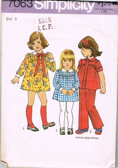 Simplicity Sewing Pattern 7063 Girls Gathered Front Dress Top Elastic Waist Pants Size 5 CUT