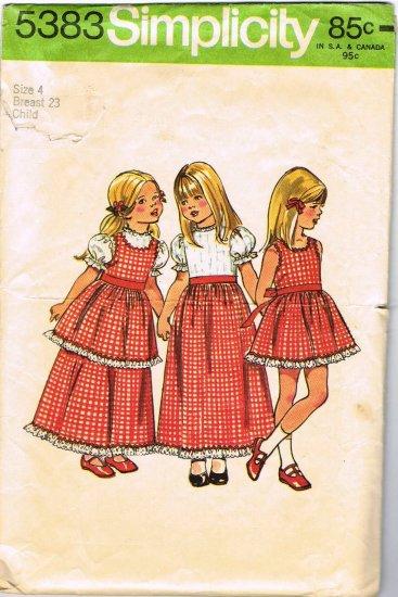 70's Simplicity Sewing Pattern 5383 Girls Pinafore Dress Long Short 3 styles Size 4 CUT