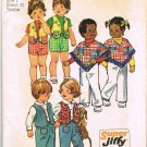 Simplicity Super Jifffy Sewing Pattern 6239 Toddler Boys Girls Shorts Pants Poncho Vest Size 1 CUT