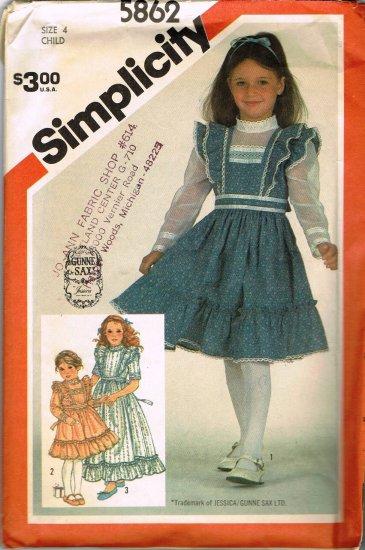 80's Simplicity Gunne Sax Sewing Pattern 5862 Girls Apron Prairie Dress 3 Styles Size 4 CUT