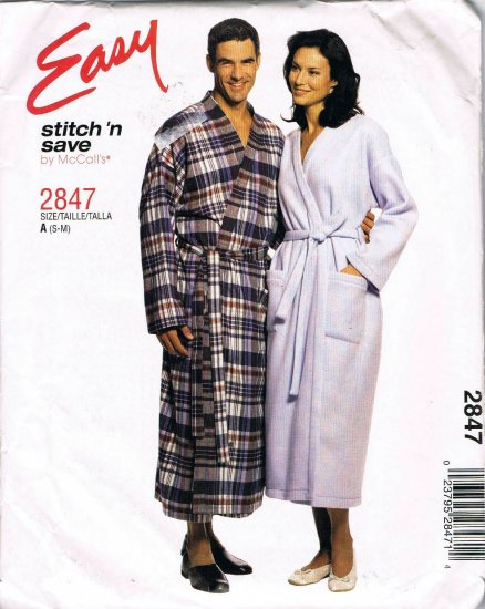 Tie Front Robe McCalls Easy Sewing Pattern 2847 Unisex Mens Womens Teen Size Small - Medium UNCUT