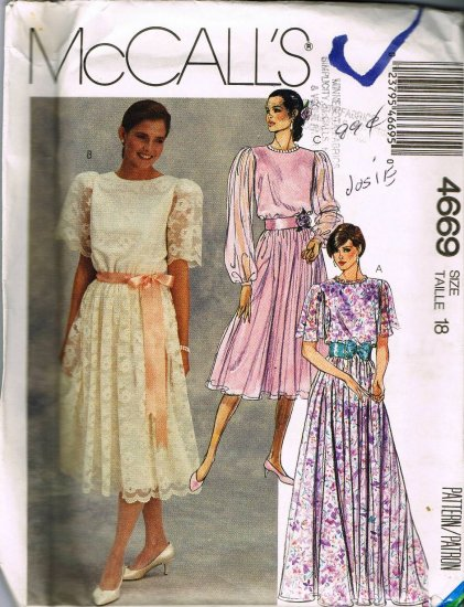 Long Short Dress Mother of the Bride Gown 90's McCalls Sewing Pattern 4669 Plus Size 18 UNCUT
