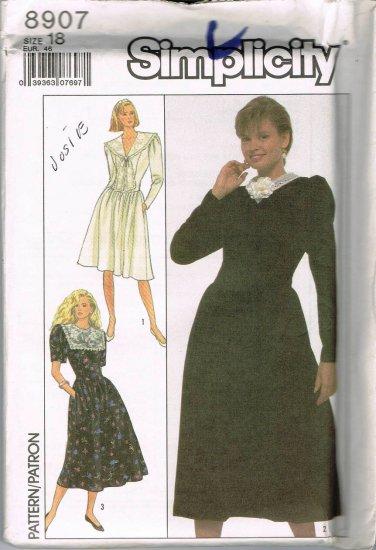 80's Vintage Simplicity Sewing Pattern 8907 Long Short Sleeve Dress 3 Styles Plus Size 18 UNCUT