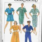 80's Simplicity Sewing Pattern 7492 Shirt Dress Long or Short Jumpsuit Size 6 and 8 UNCUT