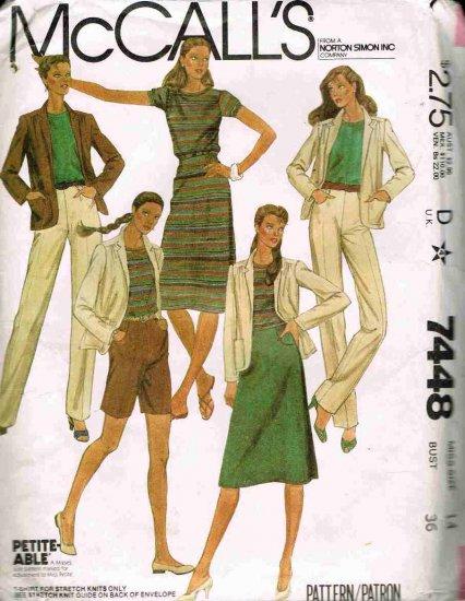 Vintage 1980's McCalls Sewing Pattern 7448 Shorts Skirt Jacket Blazer Pants T-Shirt Size 14 UNCUT