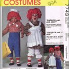 90'S McCalls Costume Sewing Pattern 7743 Raggedy Ann and Andy Adult Size Medium 36 - 38 UNCUT