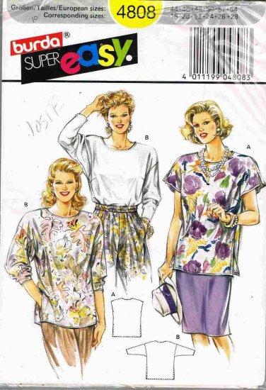 Vintge Burda Super Easy Sewing Pattern 4808 Top Shirt Blouse Plus Size 18 20 22 24 26 28 UNCUT