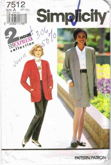 90's Simplicity Sewing Pattern 7512 Blazer Jacket Pants Skirt All sizes Petite 6 - Plus 24 UNCUT