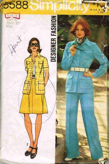 70's Simplicity DesignerSewing Pattern 5588 Shirt Jacket Skirt Pants Plus Size 18 UNCUT