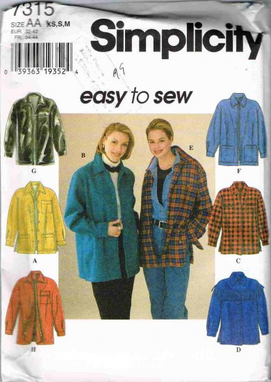 90's Simplicity Easy to Sew Sewing Pattern 7315 Shirt Jacket 8 Styles Size 6 8 10 12 14 16 UNCUT
