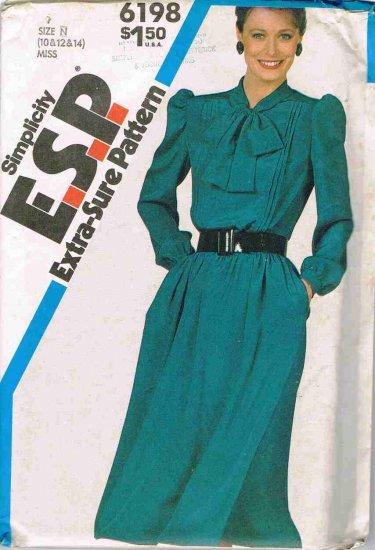 80's Vintage Simplicity ESP Sewing Pattern 6198 Pullover Dress Size 10 12 14 UNCUT