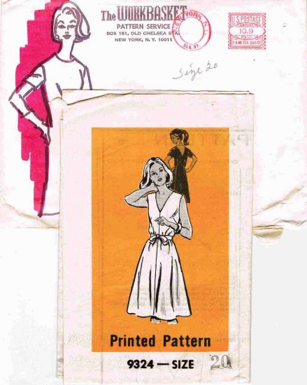 Vintage 70's Mail Order Sewing Pattern The Workbasket 9324 V-Neck Wrap Dress Plus Size 20 CUT