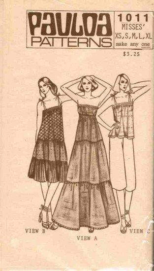 Vintage Pauloa Sewing Pattern 1011 Hawaiian Top Dress Strapless Thin Strap Size XS - XL plus UNCUT