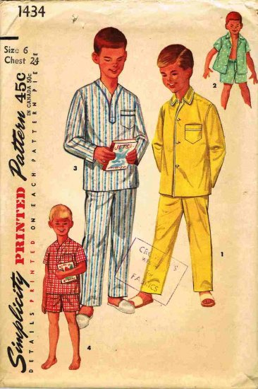 Vintage 1950's Simplicity Sewing Pattern 1434 Boys Long or Short Pajamas PJ's Size 6 CUT