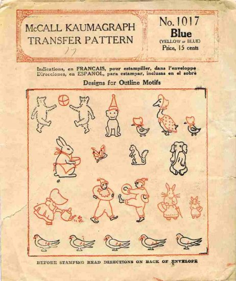 1920's McCall Kaumagraph Transfer Pattern 1017 Embroidery Animals Bear Bunny Dog Clown Girl CUT