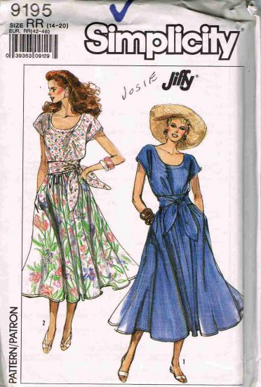80's Simplicity Sewing Pattern 9195 Scoop Neck Dress with Sash Size 14, 16, 18, 20 Plus UNCUT