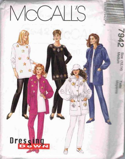 90's McCalls Sewing Pattern 7942 Jacket Tunic Pull On Pants Size Medium 14, 16 UNCUT