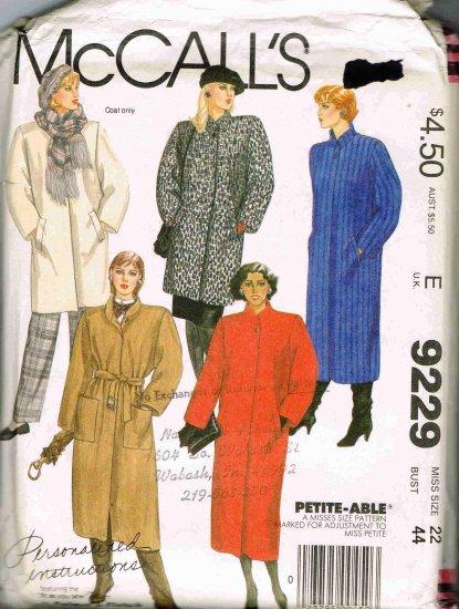 1980's McCalls Sewing Pattern 9229 Fall Winter Coat and Belt Plus Size 22 UNCUT