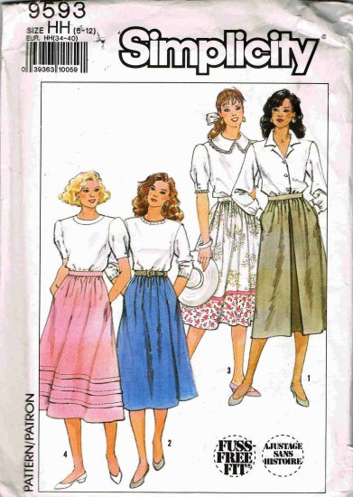 80's Vintage Simplicity Sewing Pattern 9593 Gathered Full Skirt Size 6 8 10 12 UNCUT