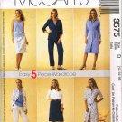McCalls Sewing Pattern 3575 5 Piece Wardrobe Dress Shirt Top Pants Skirt Size 12 14 16 UNCUT