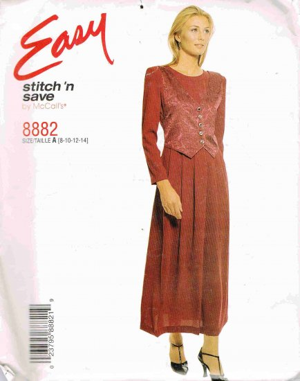 90's McCalls Easy Stitch n Save Sewing Pattern 8882 Dress with Mock Vest Size 8 10 12 14 UNCUT