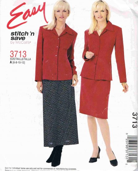 McCalls Easy Stitch n Save Sewing Pattern 3713 Suit Shirt Jacket Skirt Size 6 8 10 12 UNCUT