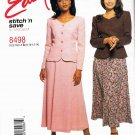 McCalls Easy Stitch n Save Sewing Pattern 8498 Semi Fitted Jacket Gored Skirt Size 8 10 12 14 UNCUT