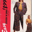 90's McCalls Easy Stitch n Save Sewing Pattern 6086 Jacket Blouse Split Skirt Size 8 10 12 14 UNCUT