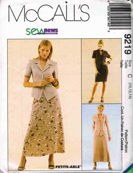 1990's McCalls Sewing Pattern 9213 Long Short Sleeve Jacket Long Short Skirt Size 10 12 14 UNCUT