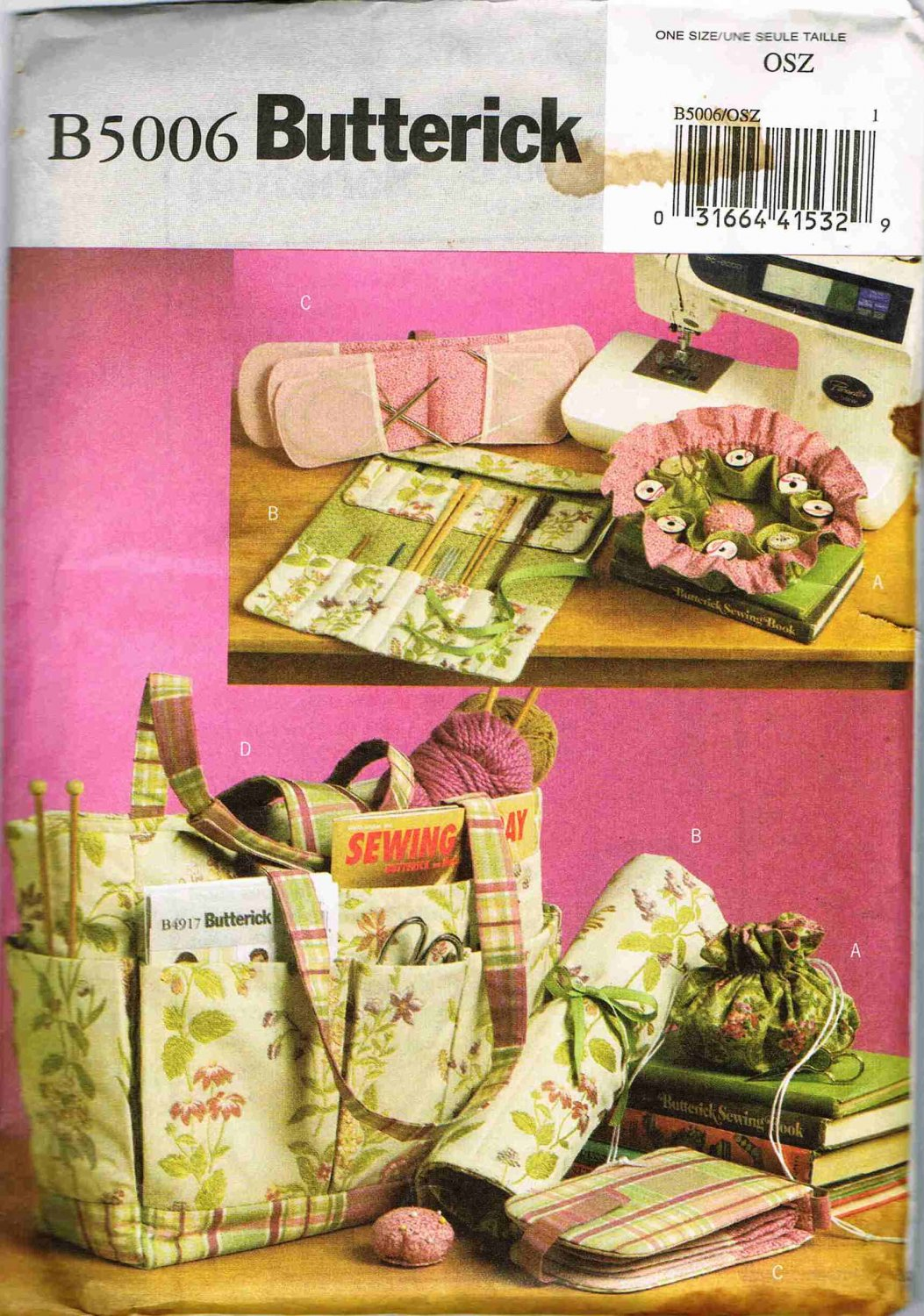 Butterick Craft Sewing Pattern B5006 Sewing Knitting Crochet Tote Bag Pouch Case UNCUT