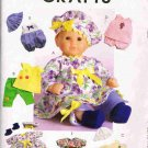 McCalls Sewing Pattern M4736 Baby Doll Clothes Dress Romper Hat Size 11 - 13 and 14 -16 inch UNCUT