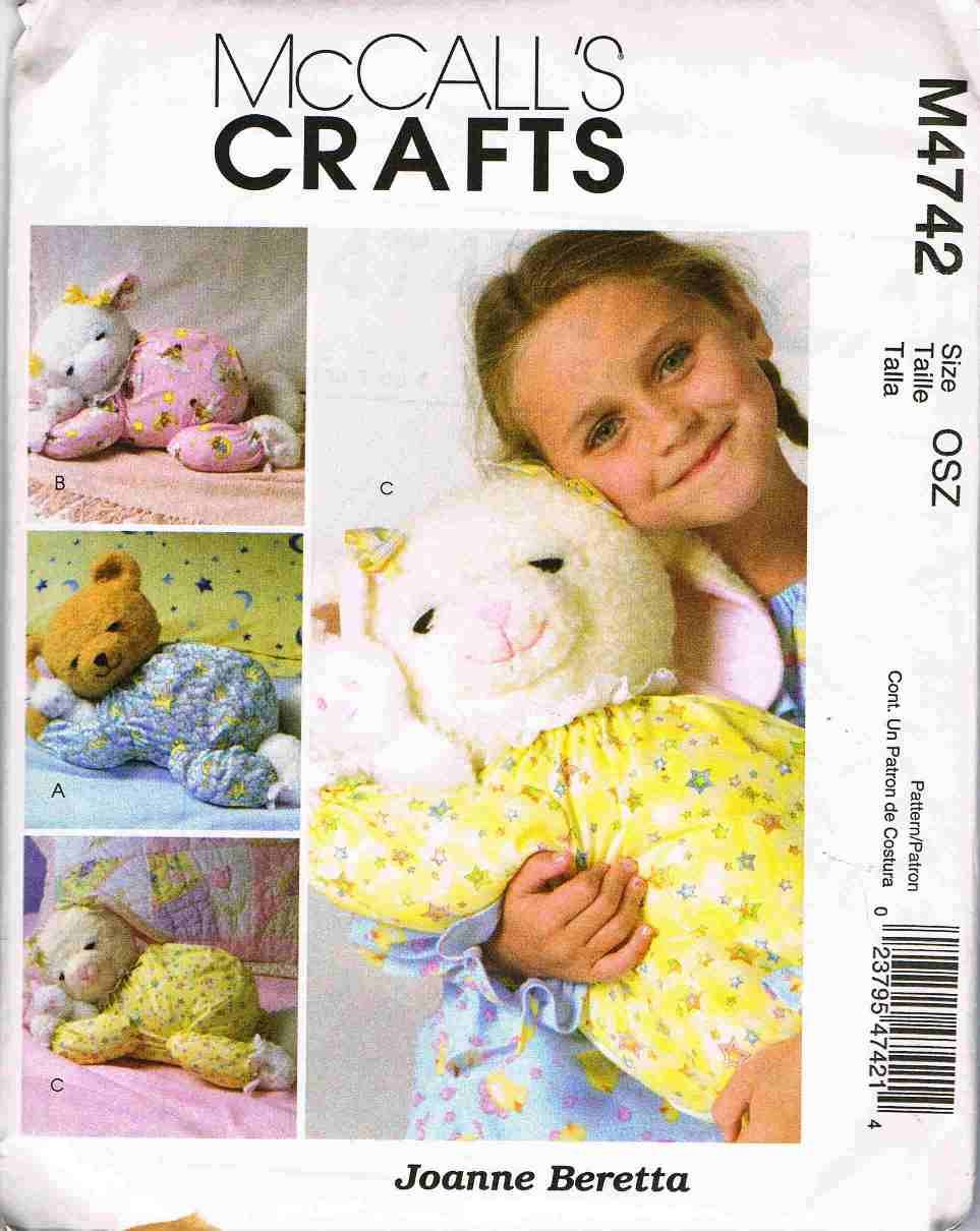 McCalls Craft Sewing Pattern M4742 Sleepy Doll Pajama Holder Bear Lamb Bunny UNCUT