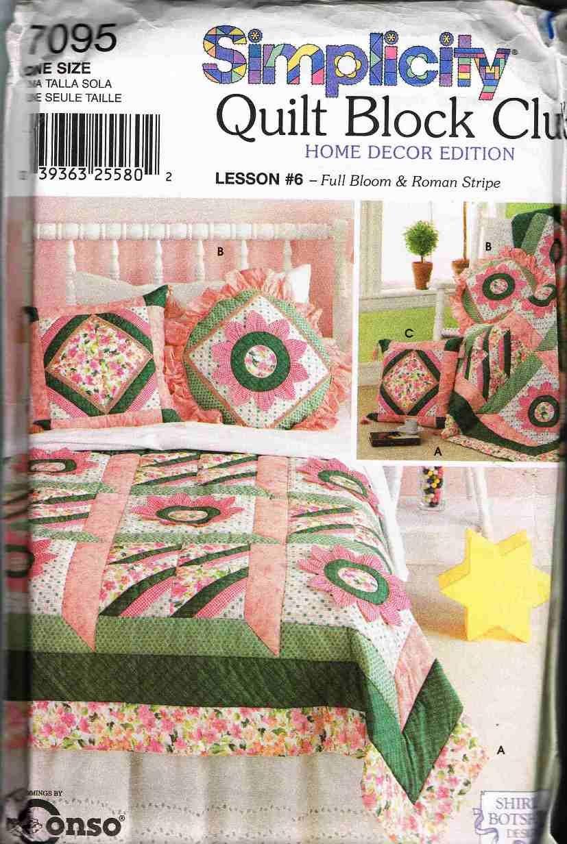 Simplicity Sewing Pattern 7095 Quilt Block Club Home Decor Edition Lesson #6 Quilt Pillow Sham UNCUT