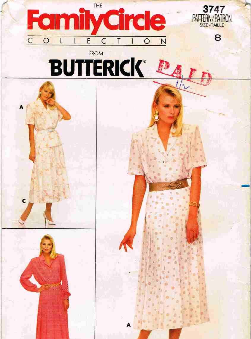 80's Butterick Family Circle Sewing Pattern 3747 Skirt and Blouse 3 Styles Size 8 UNCUT