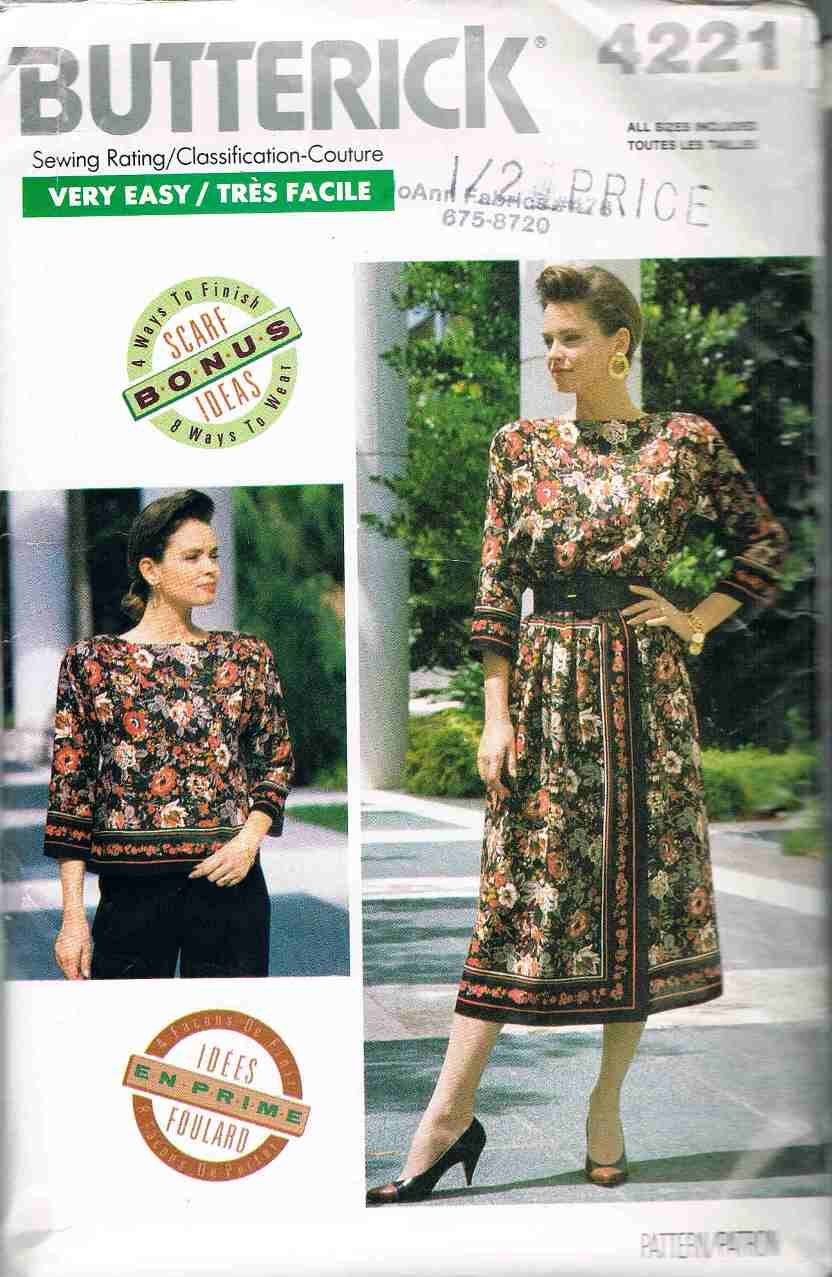 80's Butterick Easy Sewing Pattern 4221 Skirt Jacket Vest Blouse Scarf 6 - 24 plus all sizes UNCUT