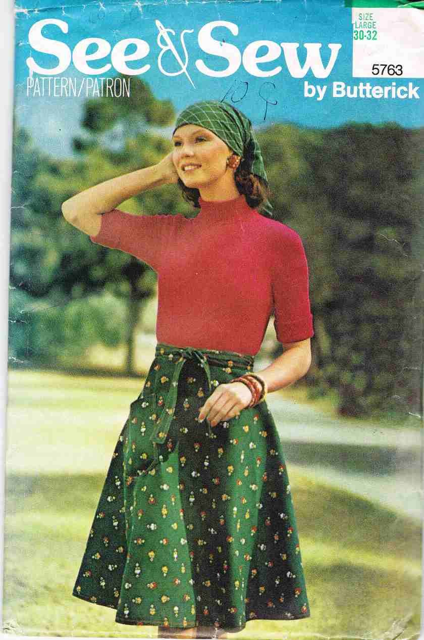 70's See and Sew Butterick Sewing Pattern 5763 Wrap Skirt Size Large L 30 - 32 UNCUT