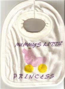 BABY GIRL'S MUMMY'S LITTLE PRINCESS TOWELLING BIB NEW