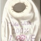 BABYS TOWELLING BIB MADE WITH 100% LOVE SLOGAN NEW