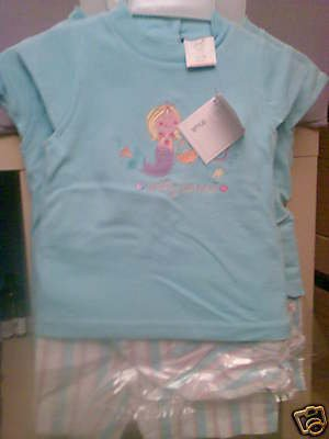 BABY GIRLS PRETTY MERMAID HAT, SHORTS AND TOP SET NEW WITH TAGS AGE 12-18 MONTHS