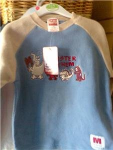 BOYS LONG SLEEVE MONSTER MAYHEM FLEECE TOP BLUE AND BEIGE AGE 1-2 YEARS NEW
