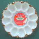 Anchor Hocking vintage milk glass Deviled Egg dish tray glass plate