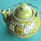 Vintage Green Teapot with Fruit and Flowers